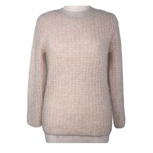 LINE Fuzzy Knit Ivory Cream Pullover Sweater Small